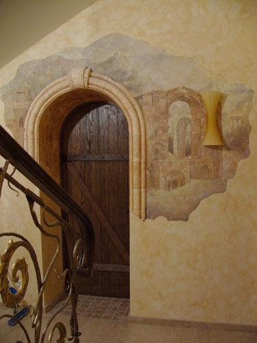 Интерьер дизайн роспись стен Фреска точно имитирует старинную с...